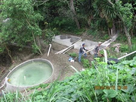 Fish pond. sediment tanks